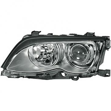 Hella XENON Headlamp BMW 3-Series E46 99-01, Titanium Bezel, HL05303/4