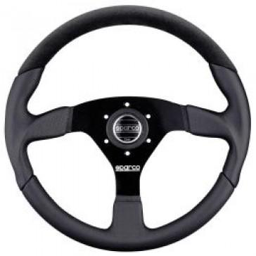 SP015TL522TUV Steering Wheel, LAP, Tuning, 350mm Diameter, 39mm Dish in Black Leather.