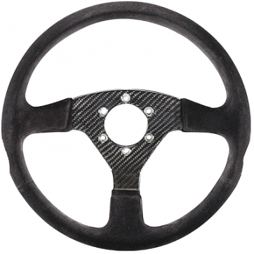 SP015RC385SN Steering Wheel, CARBON, 330mm Diameter, 36 Dish in Black Suede with Carbon Fiber Spokes.