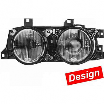"Hella Super DE-H1 Smoked ""Smiley"" Headlamp Set, BMW 5-Series E34 1988>97, ECE 1DL 006 020-801"