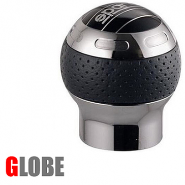 SP03745PTN Sparco GLOBE, Shift Knob, Chrome with Black Perforated Leather.