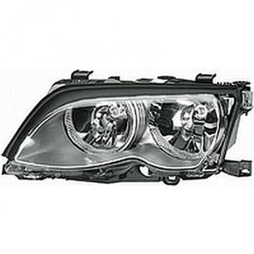 Hella BMW Headlamp 3-Series E46 99-01, Titanium Bezel, HL05301/2