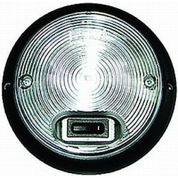 R142 8569 Series Clear Round Interior Lamp with Black Bezel and Switch