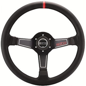 SP015L750 Steering Wheel, L575, Tuning, 350mm Diameter, 63mm Dish in Black Suede or Leather.