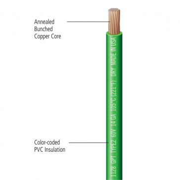 Deka Primary Wire, Stranded 14 Gauge Single Conductor Copper, 105 Deg. C (221 Deg. F)