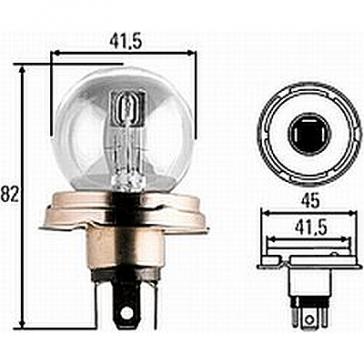 Narva R2 Bulb, P45t Base, Incandescent, 6V, 12V, 24V