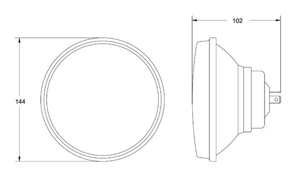 H5006 Hella 5 3 4 Round E Code Hi Lo Conversion Headlamp