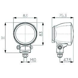 hella hl17649 70mm model 70 halogen work lamp 12v  cr