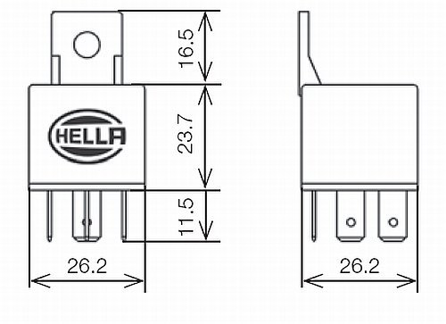 hella hl87111 mini relay  24v  30a spst with bracket
