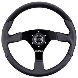 SP015TL522TUV Steering Wheel, LAP, Tuning, 350mm Diameter, 39mm Dish in Black Leather.
