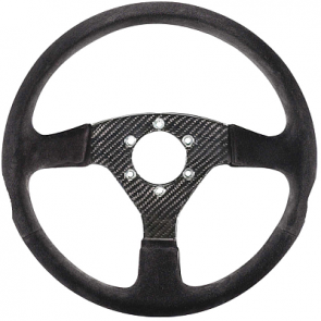 SP015RC385SN Steering Wheel, CARBON, 330mm Diameter, 36 Dish in Black Suede with Carbon Fiber Spokes.