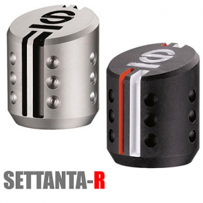 SP03737 SETTANTA R Shift Knob, Striped Leather with Aluminum Grill.
