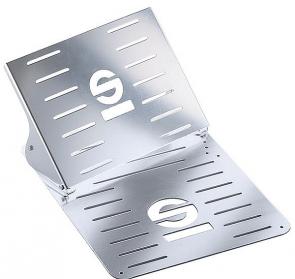 SP03789T Sparco NAVIGA Footrest and Floor Mat, Anodized Aluminum.