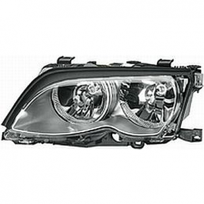 Hella BMW Headlamp 3-Series E46 99-01, Titanium Bezel, HL05301/2