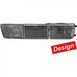 Hella DESIGN Black Front Turn Signal Set with Bracket Covers for VW Golf III and Jetta III