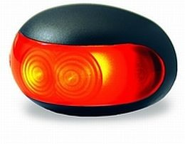 Hella 9660 Series Side Marker Lamp, Two LEDs, Black Bezel, 9>33V, SAE