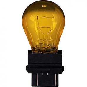 HL78634 S8, 12v 27/8w Amber Incandescant Bulb 3157NA W2.5x16q Wedge base.