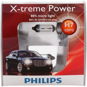 Philips X-Treme Power Xenon +80% Bulb, 2100 Lumens, Pair, H7, H13, 9006, 9007