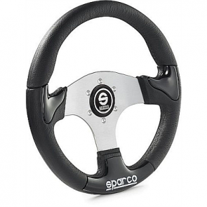 SP015THPU P222 Tuning Steering Wheel, 345mm Diameter, Zero Dish in Black or Silver Trim