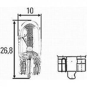 Hella T-3-1/4 12v, W2,1X9,5d Incandescent Bulb